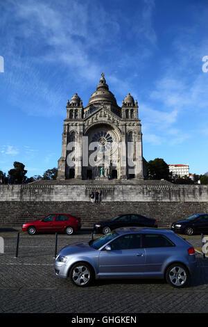 Cars parked in front of Santa Luzia basilica on Monte de Santa Luzia, Viana do Castelo, Minho Province, northern - Stock Photo