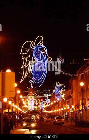 Christmas decorations on Avenida Dos Combatentes da Grande Guerra at night, Viana do Castelo, northern Portugal - Stock Photo