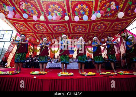Kathmandu, Nepal. 14th Sep, 2016. Nepalese students perform dance to celebrate National Children's Day in Kathmandu, - Stock Photo