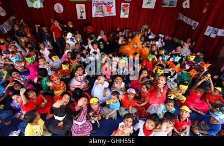 Kathmandu, Nepal. 14th Sep, 2016. Nepalese children celebrate the National Children's Day in Kathmandu, Nepal, Sept. - Stock Photo
