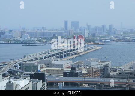Port Island Kobe city view in Kobe Japan. - Stock Photo