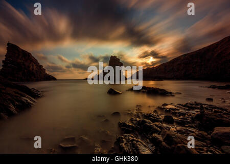 beautiful rocks in Bulgaria at sunrise in summer - Stock Photo