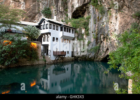 Small nice village Blagaj on Buna spring and waterfall in Bosnia and Herzegovina - Stock Photo