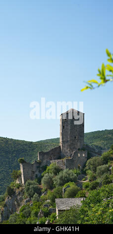 nice Panoramic view of Pocitelj, medieval city in Bosnia and Hercegovina - Stock Photo