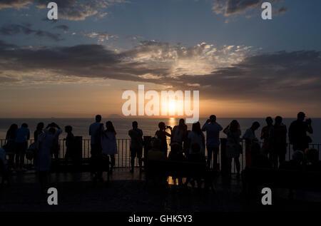 Sunset over Tyrrhenian Sea, Tropea, Calabria, Italy - Stock Photo