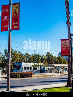 The Santa Clara Valley VTA light rail in Santa Clara California near the convention center - Stock Photo