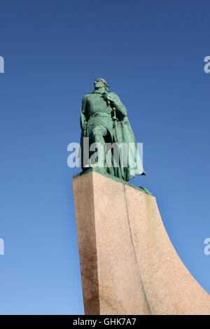 Statue of Leif Eriksson, explorer regarded as the first European to land in North America, Reykjavik, Iceland. - Stock Photo