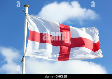Flying flag of England, St George cross Photo taken on April 04, 2015 - Stock Photo