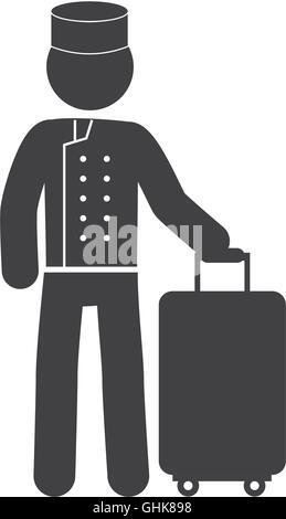 bellboy bellman baggage hotel suitcase icon vector graphic - Stock Photo