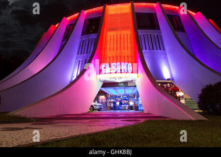 Casino entrance at night in Funchal, Madeira, Portugal - Stock Photo