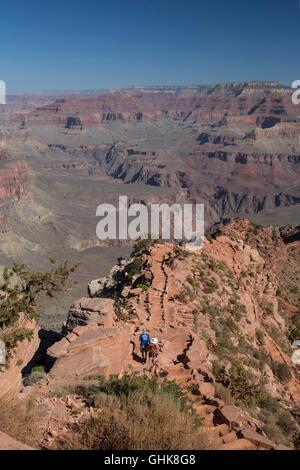 Grand Canyon National Park, Arizona - Hikers on the South Kaibab Trail. - Stock Photo