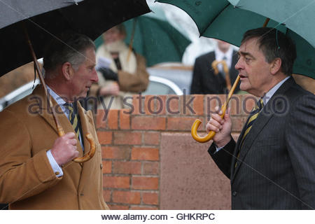 File photo dated 26/3/2009 of the Prince of Wales with the Duke of Westminster during a visit to Aldford Village - Stock Photo