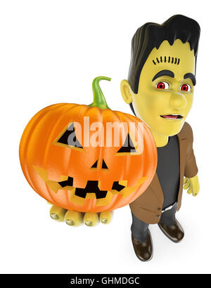 3d halloween people illustration. Funny monster. Frankenstein with a big pumpkin. Isolated white background. - Stock Photo