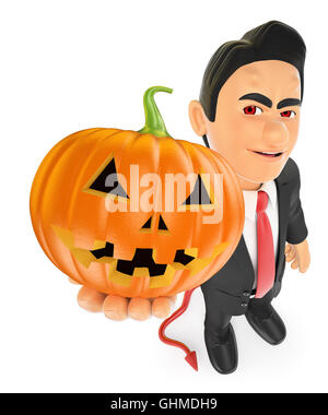 3d halloween people illustration. Funny monster. Devil with a big pumpkin. Isolated white background. - Stock Photo