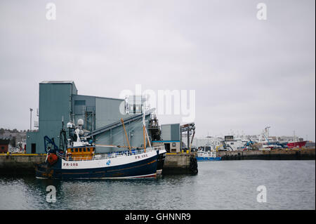 Fishing boats in Fraserburgh Harbour. - Stock Photo