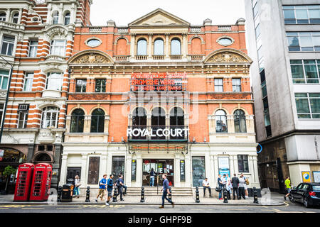 Exterior of the The Royal Court Theatre, Sloane Square, Chelsea, London, England, UK - Stock Photo