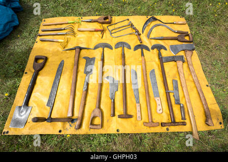 Old tools for sale at a car boot sale stock photo royalty for Gardening tools on sale