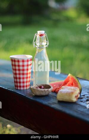 Summer picnic on the bench in the park - Stock Photo