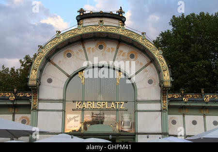 Art Nouveau Karlsplatz Cafe designed by Otto Wagner as an underground railway station in Vienna - Stock Photo