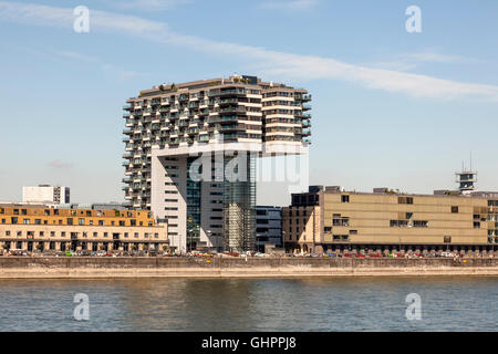 Crane House (german Kranhaus) at the Rhine River in Cologne, Germany - Stock Photo