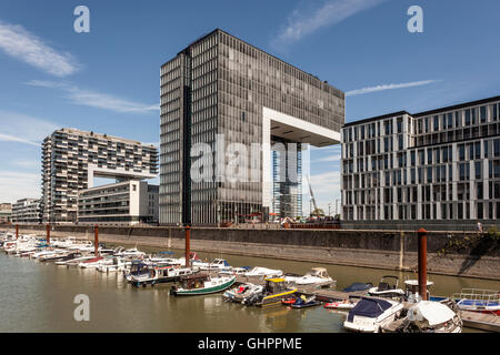 Contemporary Crane Houses at the Rheinauhafen marina in the city of Cologne, Germany - Stock Photo