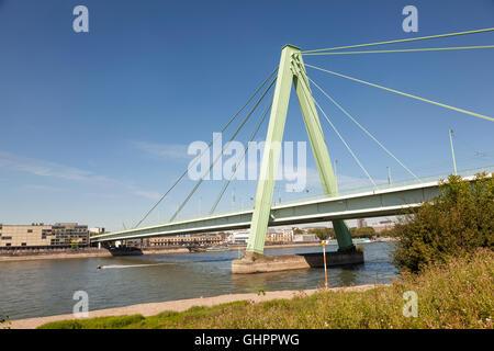 Severin bridge over the Rhine River in Cologne, Germany - Stock Photo