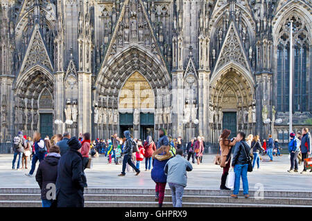 Cathedral of Cologne with tourist - editorial photo - Stock Photo
