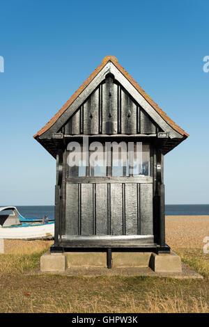 A beach shelter at Aldeburgh beach Suffolk UK - Stock Photo