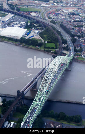 Aerial view of Runcorn Bridge - Stock Photo