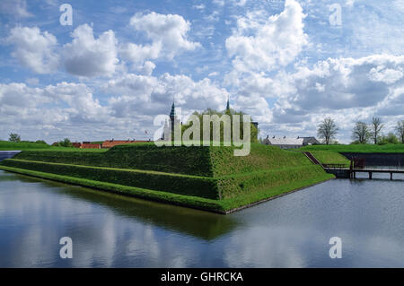 Renaissance castle and fortress of Kronborg, home of Shakespeare's Hamlet. View to moat and walls of the fortress, - Stock Photo
