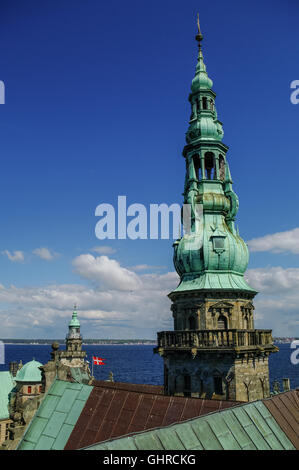 View from roof of renaissance castle Kronborg to Helsingborg city and strait between  Denmark and Sweden. - Stock Photo