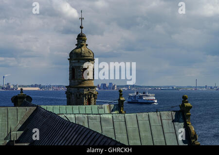 Kronborg , Denmark- 1 may 2011: View from roof of renaissance castle Kronborg to Helsingborg city and strait between - Stock Photo