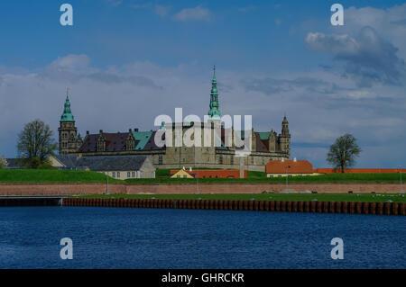 Castle and fortoress of Kronborg, home of Shakespeare's Hamlet. Denmark - Stock Photo