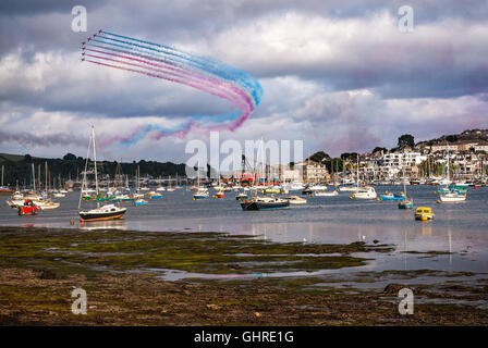 The red arrows display (Royal Air Force) over Falmouth in Cornwall on 10/08/2016 - Stock Photo