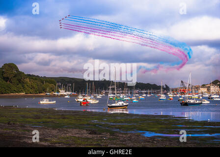 The red arrows display over Falmouth in Cornwall UK on 10/08/2016 - Stock Photo