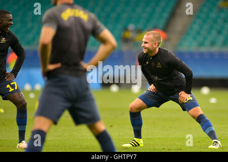 Salvador, Brazil. 10th August, 2016. OLYMPICS 2016 FOOTBALL SALVADOR - Heating the Swedish team before the match - Stock Photo