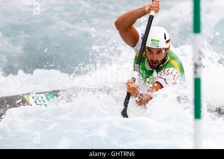 Rio de Janeiro, Brazil. August 10, 2016.  CANOE SLALOM - KAYAK (K1) MEN SEMI-FINAL at the 2016 Summer Olympic Games - Stock Photo