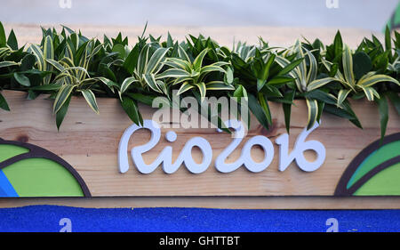 Rio de Janeiro, Brazil. 10th Aug, 2016. The podium. Mens K1. Canoe slalom. White water centre. X-Park. Deodoro. - Stock Photo