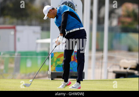 Rio de Janeiro, Brazil. 11th August, 2016. Rio Olympics Golf - Haotong LI of China (CHN) during the dispute at the - Stock Photo