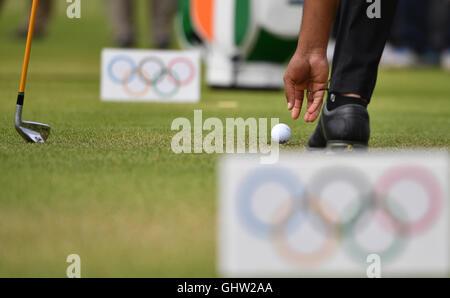 Rio de Janeiro, Brazil. 11th Aug, 2016. Anirban Lahiri of India during the Men's Individual Stroke Play Round 1 - Stock Photo