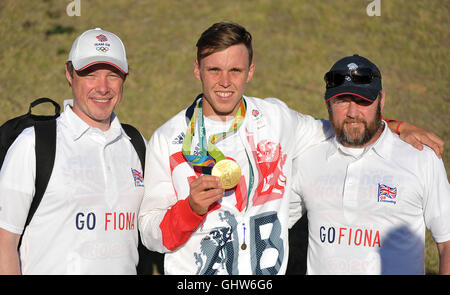 Rio de Janeiro. Brazil. 11th August, 2016. Joe Clarke (GBR) with his gold medal from the K1M and fans. Mens C2. - Stock Photo