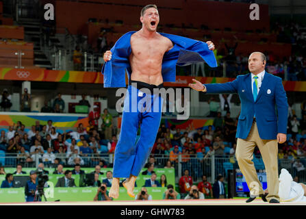 Rio de Janeiro, Brazil. 8th Aug, 2016. Gold medalist Lukas Krpalek of the Czech Republic celebrates after the men's - Stock Photo