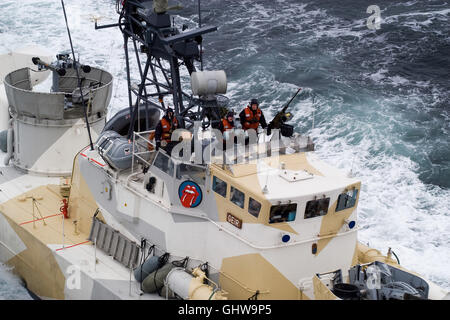 KNM Geir a Hauk class missile torpedo boat of the Norwegian Navy at high speed - Stock Photo