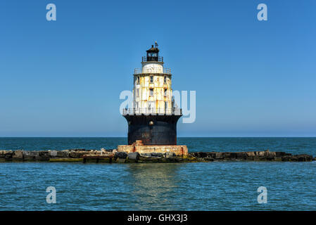 Harbor of Refuge Light Lighthouse in the Delaware Bay at Cape Henlopen. It was originally named Harbor of Refuge - Stock Photo