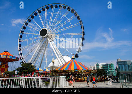 Centennial Ferris Wheel, Navy Pier, Chicago , Illinois. Opened May 2016. - Stock Photo