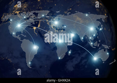 Network connection technology concept - Network connection partnership and world map. Elements of this image furnished - Stock Photo
