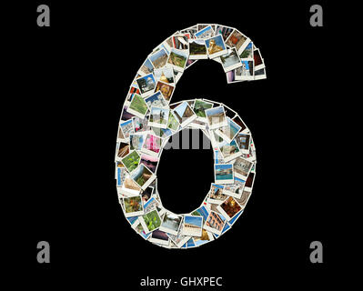 Shape of  '6' figure made like collage of travel photos - Stock Photo