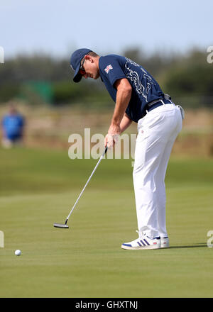 Great Britain's Justin Rose during his first round of the Golf event at the Olympic Golf Course on the sixth day - Stock Photo