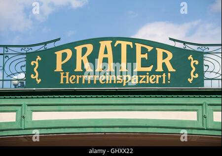 Welcome sign at the entrance to Prater amusement park in Vienna - Stock Photo