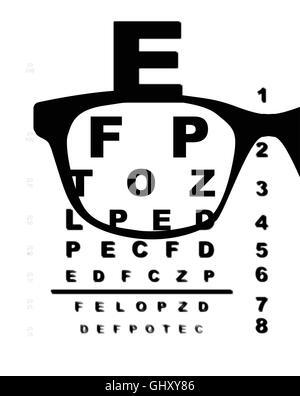 A typical opticians eye test chart over a white background with blur and glasses - Stock Photo
